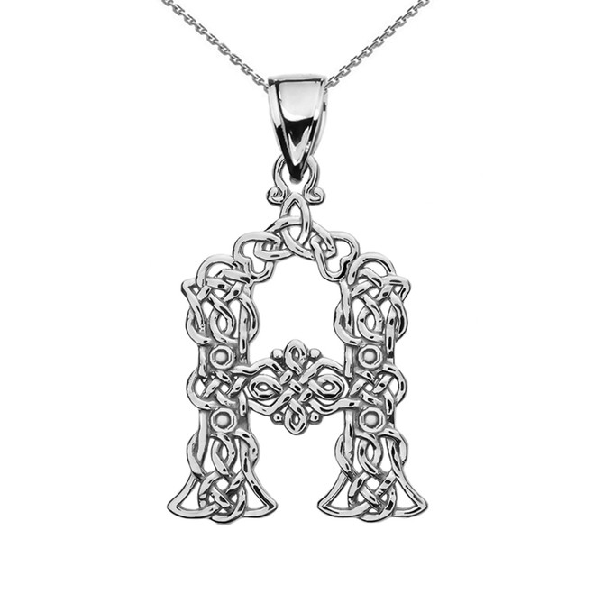 """A"" Initial In Celtic Knot Pattern Sterling Silver Pendant Necklace"