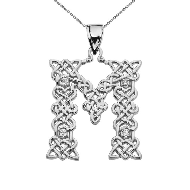 """M"" Initial In Celtic Knot Pattern Sterling Silver Pendant Necklace With CZ"