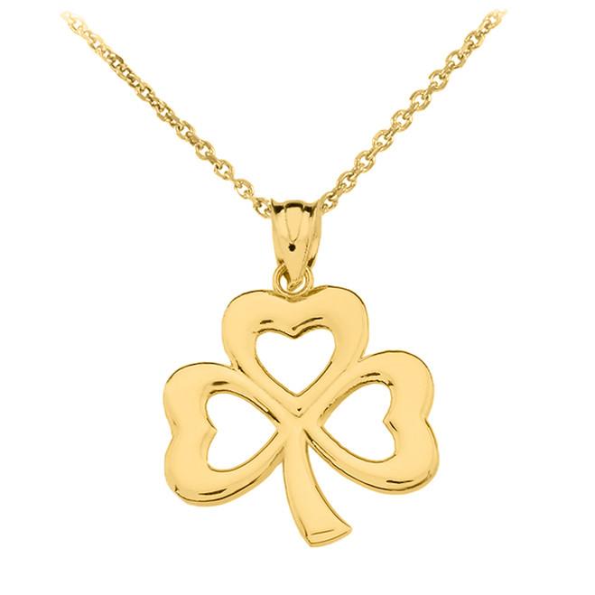 Yellow Gold Polished Lucky Shamrock Pendant Necklace