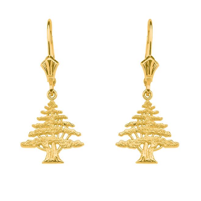 Yellow Gold Lebanese Cedar Tree Earrings