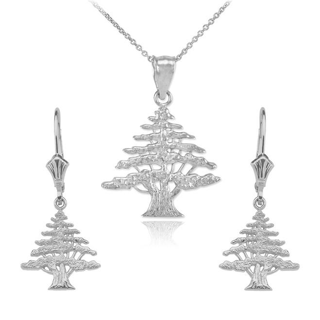 Sterling Silver Lebanese Cedar Tree Necklace Earring Set