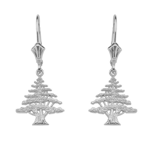 14K White Gold Lebanese Cedar Tree Earrings