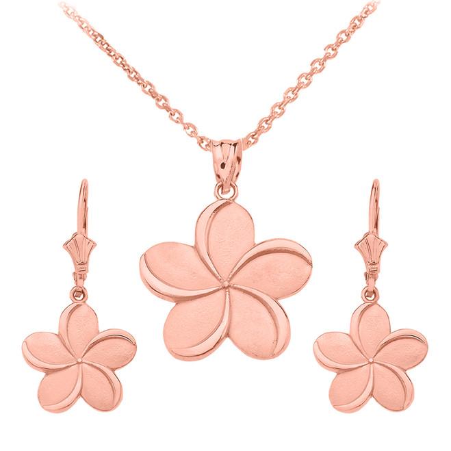 14K Rose Gold Hawaiian Plumeria Flower Necklace Earring Set