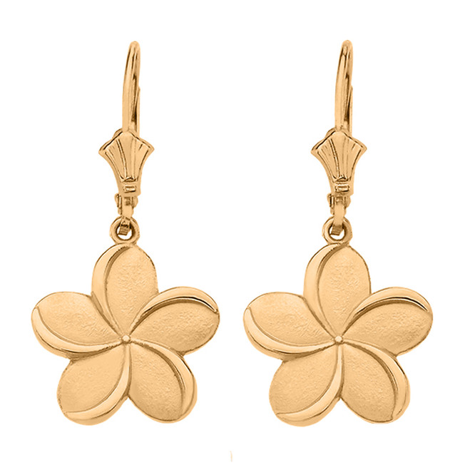 Yellow Gold Hawaiian Plumeria Flower Earrings