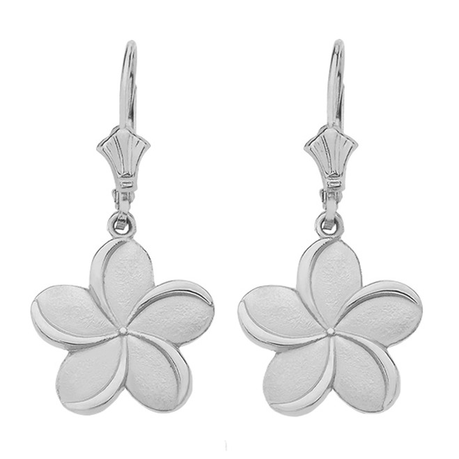 14K White Gold Hawaiian Plumeria Flower Earrings