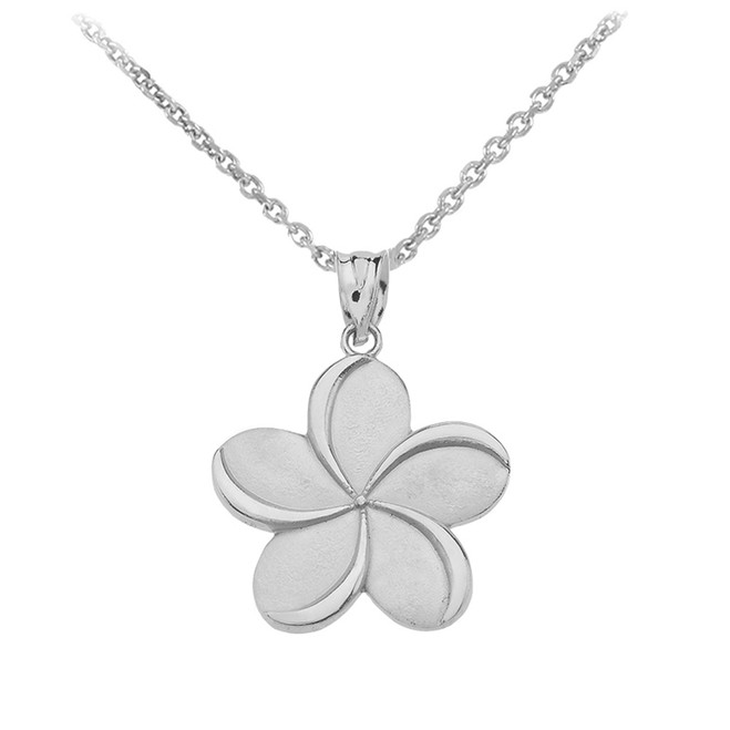 Sterling Silver   Hawaiian Plumeria Flower Pendant Necklace