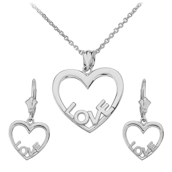 14K White Gold Love Heart Necklace Earring Set