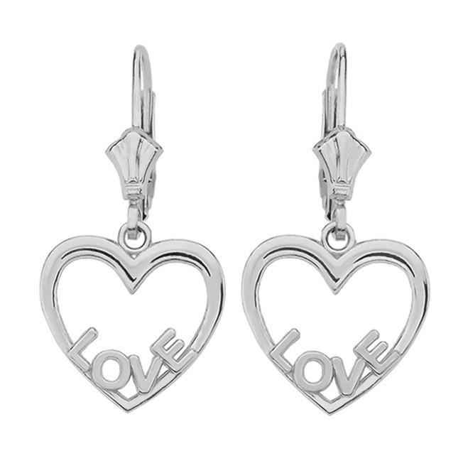 Sterling Silver Love Heart  Earrings