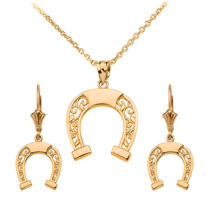 14K Yellow Gold Filigree Horseshoe Necklace Earring Set