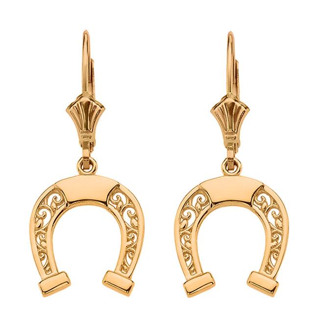 Yellow Gold Filigree Horseshoe Earrings