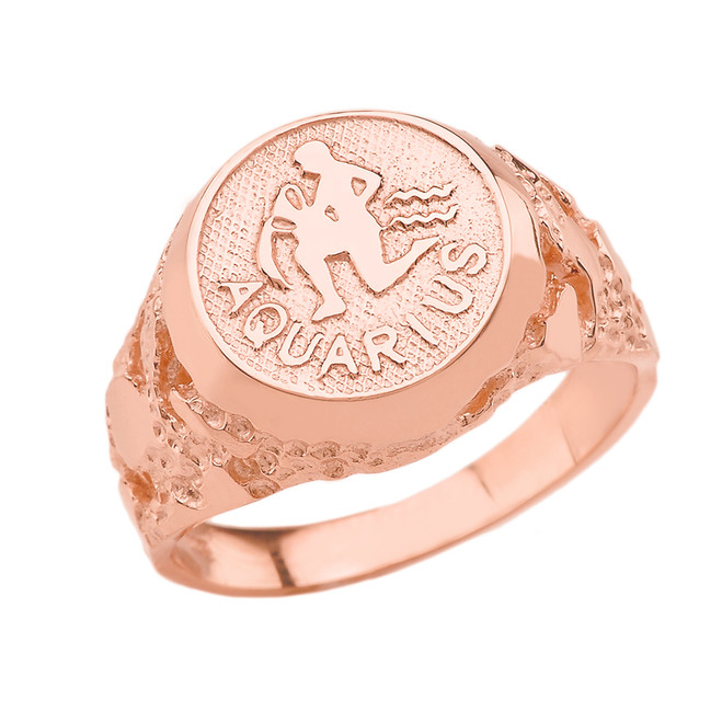 Rose Gold Aquarius Zodiac Sign Nugget Ring