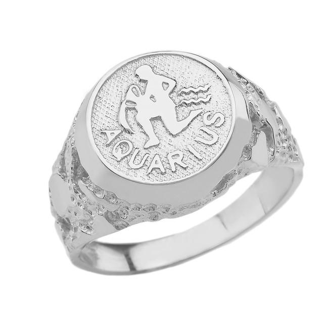 White Gold Aquarius Zodiac Sign Nugget Ring