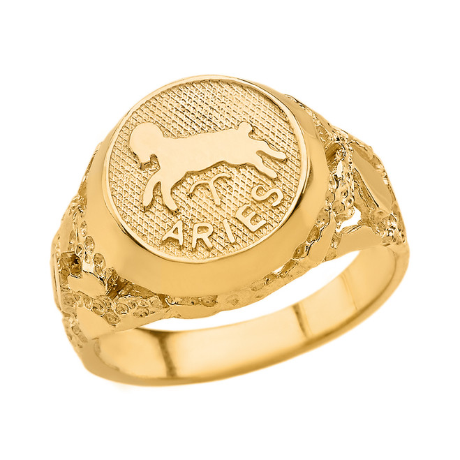 Yellow Gold Aries Zodiac Sign Nugget Ring