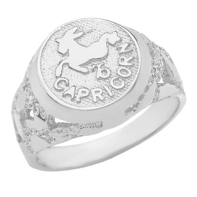 White Gold Capricorn Zodiac Sign Nugget Ring