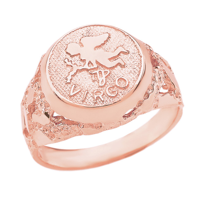 Rose Gold  Virgo Zodiac Sign Nugget Ring