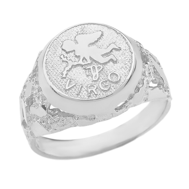 White Gold  Virgo Zodiac Sign Nugget Ring