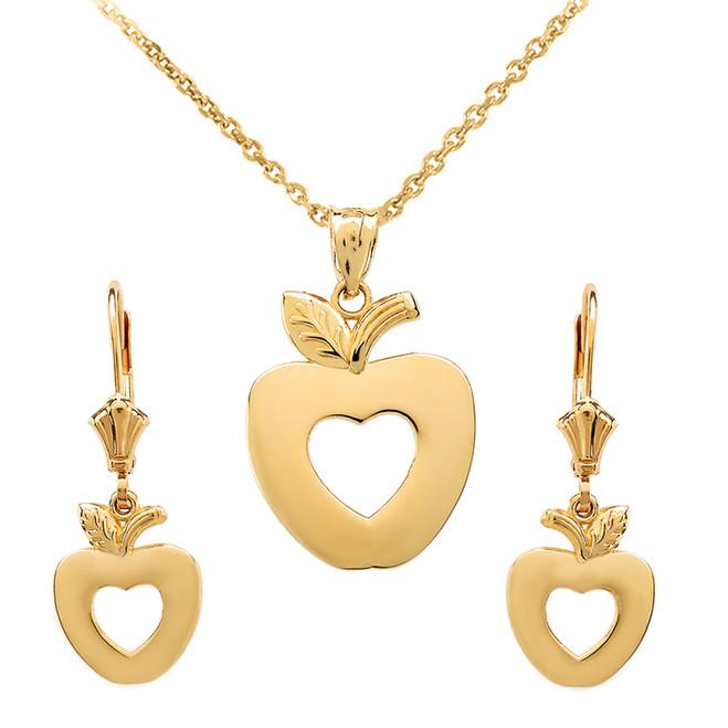 14K Yellow Gold Apple Heart Necklace Earring Set