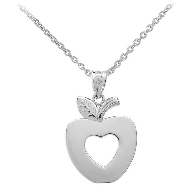 White Gold Apple Heart Pendant Necklace