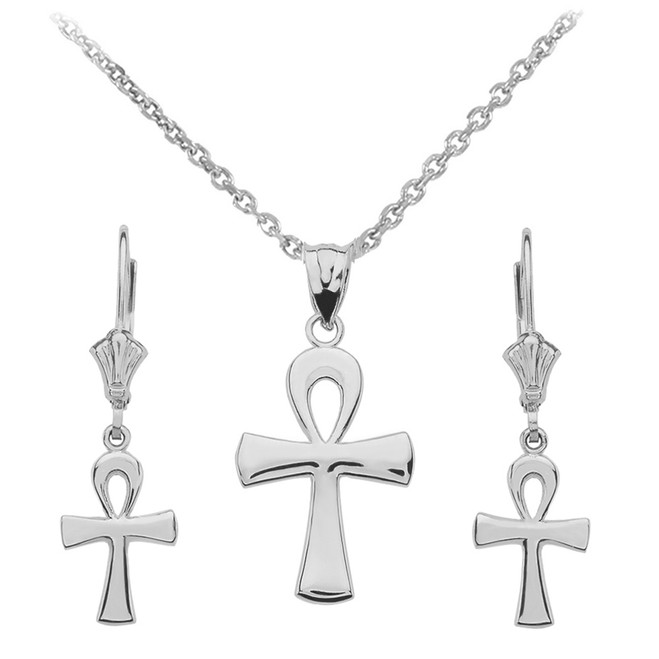 Sterling Silver Egyptian Ankh Polished Necklace Earring Set
