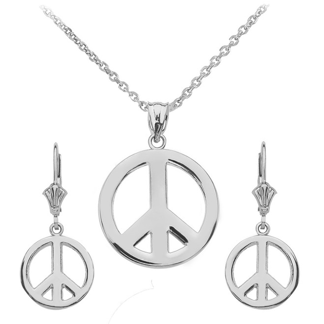 14K  White Gold Boho Peace Sign Necklace Earring Set