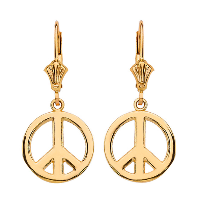 Yellow Gold Boho Peace Sign Earrings