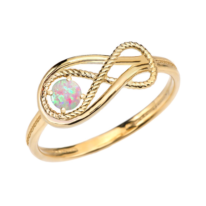 October Birthstone Opal Rope Infinity Yellow Gold Ring