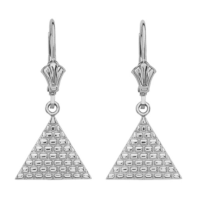 14K White Gold Egyptian Pyramid Triangle Earrings