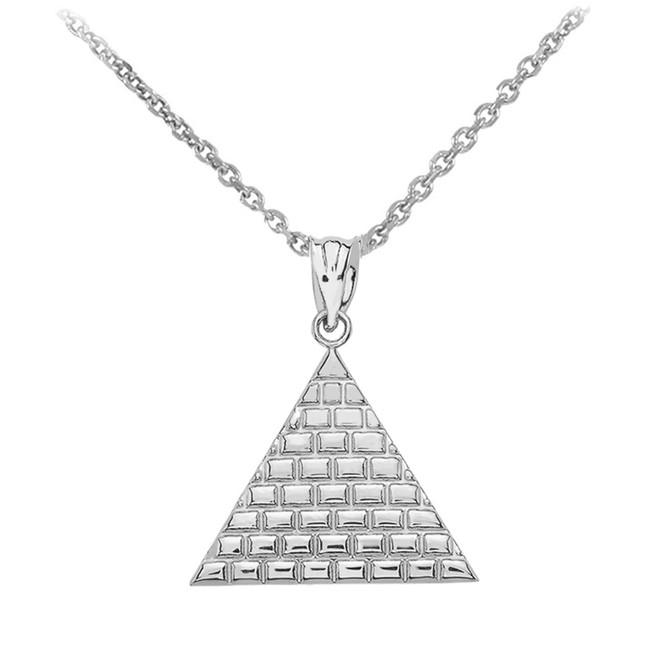 White Gold Egyptian Pyramid Triangle Pendant Necklace