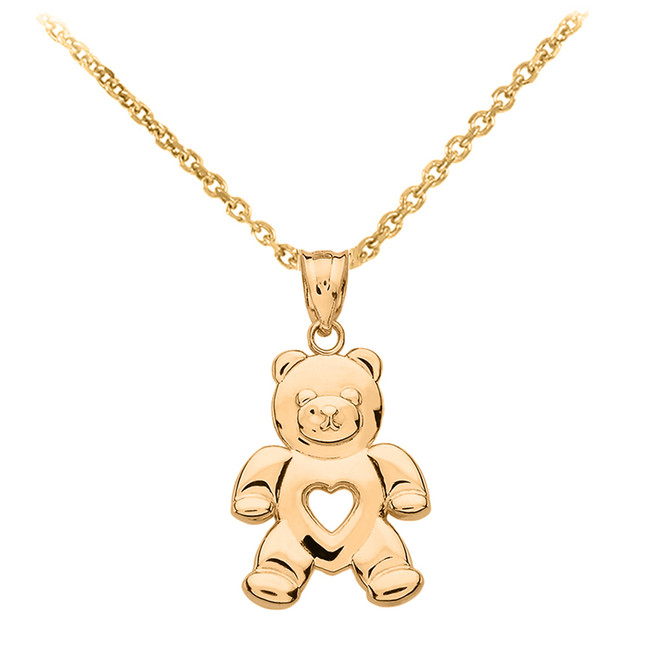 Yellow Gold Love Bear Pendant Necklace
