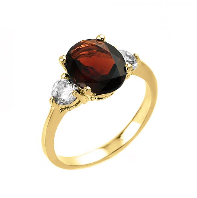 Yellow Gold Genuine Garnet and White Topaz Engagement Ring