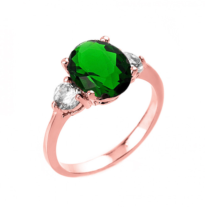 Rose Gold Emerald (LCE) and White Topaz Ring