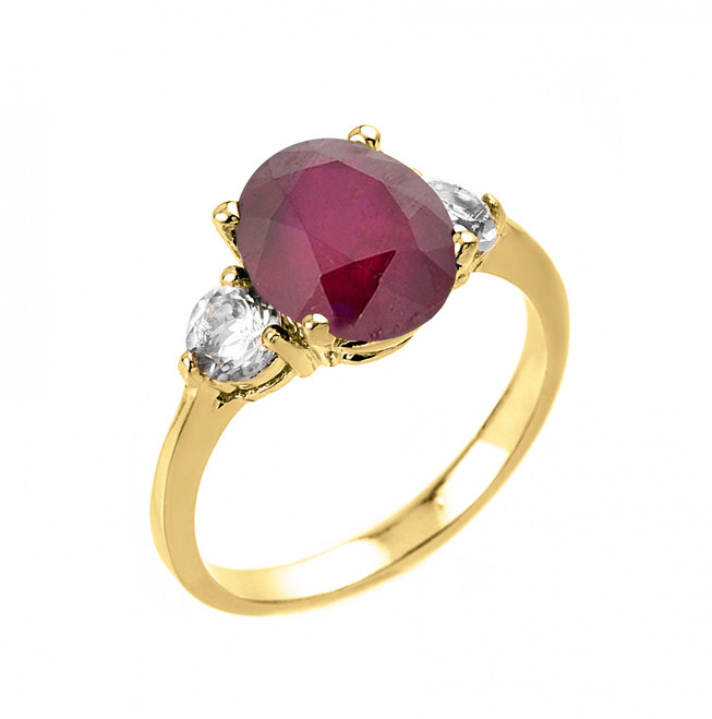 Yellow Gold Ruby (LCA) and White Topaz Ring