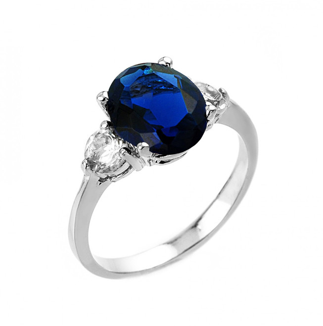 White Gold Sapphire (LCA) and White Topaz Ring