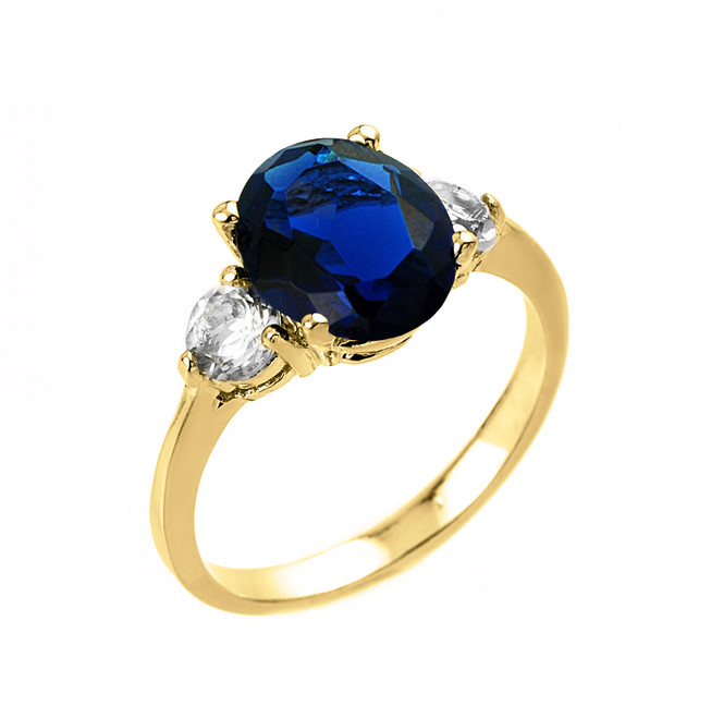 Yellow Gold Sapphire (LCA) and White Topaz Ring