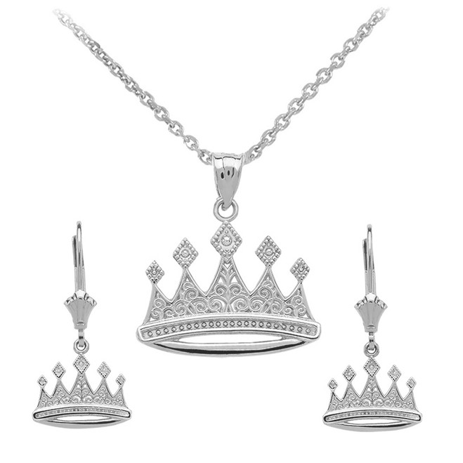 14K White Gold Quinceanera Royal Crown Earring Set