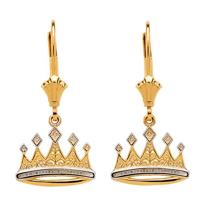 Yellow Gold Royal Crown Earrings