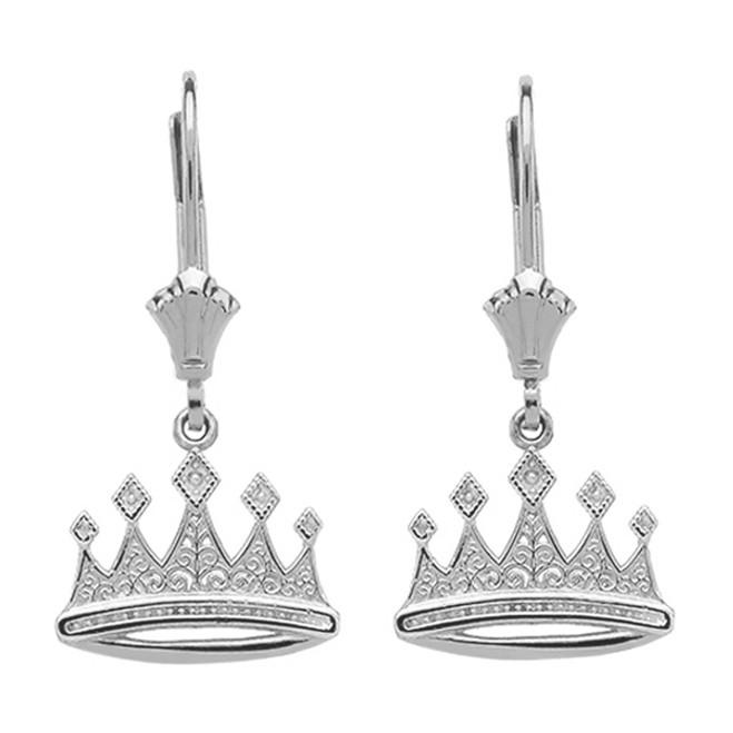 Sterling Silver Royal Crown Earrings