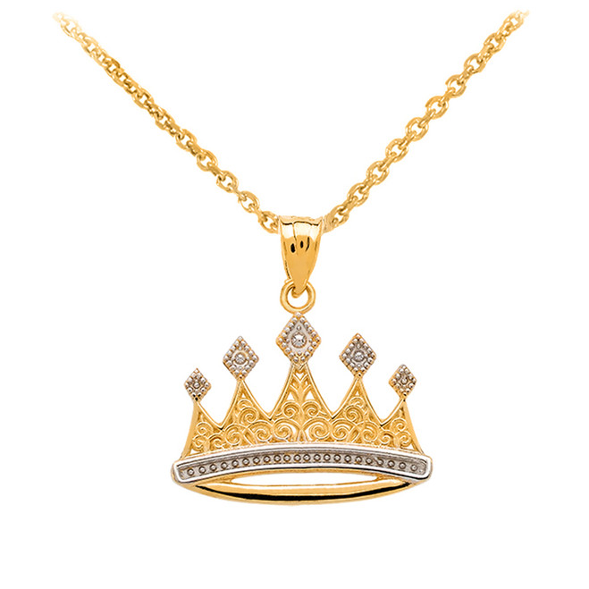 Yellow Gold Royal Crown Necklace Pendant