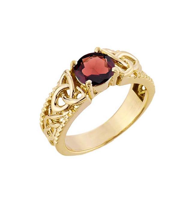 Yellow Gold Celtic Knot Garnet Gemstone Ring