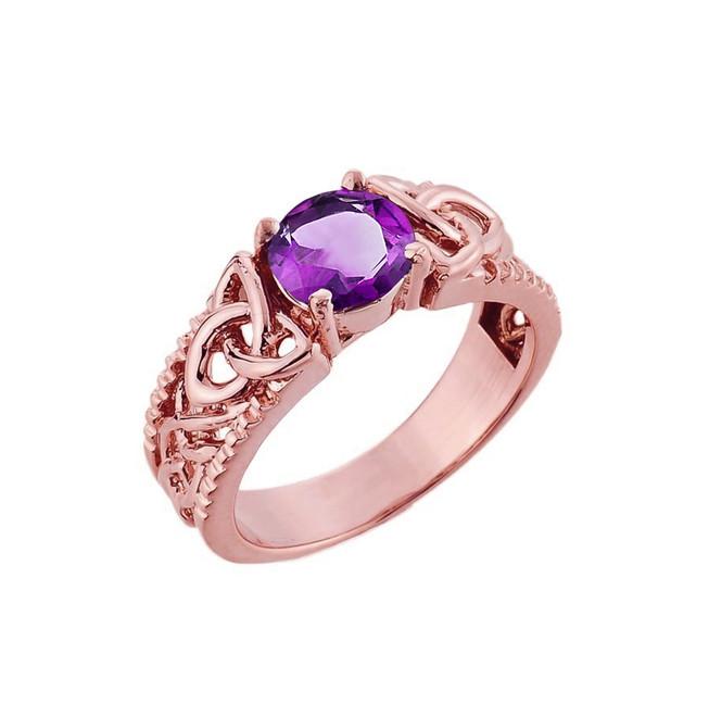 Rose Gold Celtic Knot Amethyst Gemstone Ring