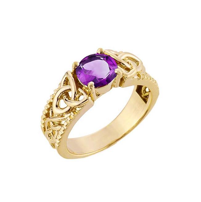 Yellow Gold Celtic Knot Amethyst Gemstone Ring