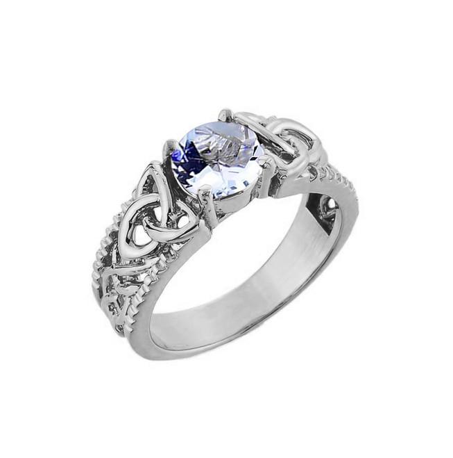White Gold Celtic Knot Aquamarine Gemstone Ring
