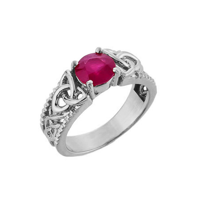 White Gold Celtic Knot (LCR) Ruby Gemstone Ring