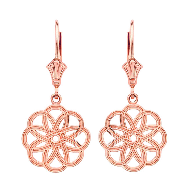 14K Rose Gold Celtic Knot Round Flower Earrings
