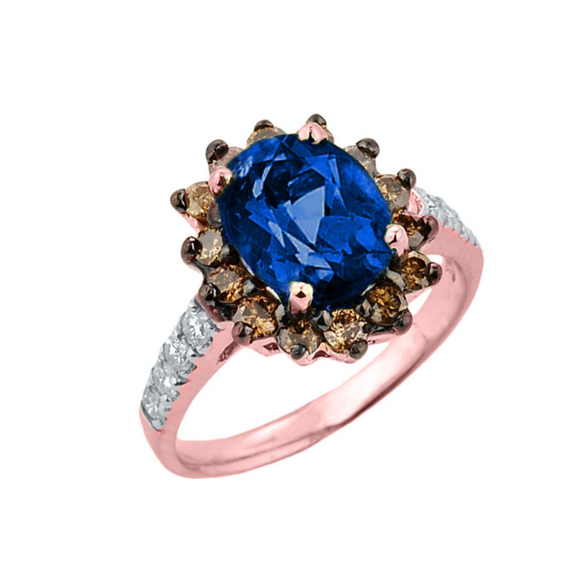 Rose Gold Diamond And Sapphire (LCS) Birthstone Proposal Ring
