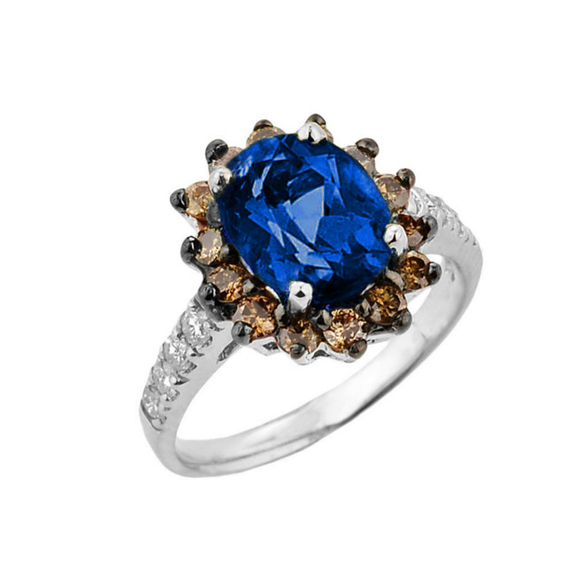 White Gold Diamond And Sapphire (LCS) Birthstone Proposal Ring