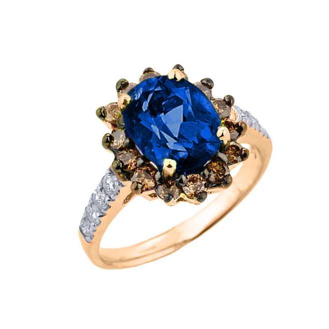 Yellow Gold Diamond And Sapphire (LCS) Birthstone Proposal Ring