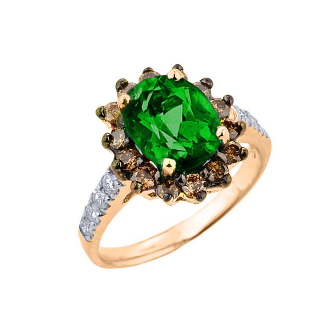 Yellow Gold Diamond And Emerald (LCE) Birthstone Proposal Ring
