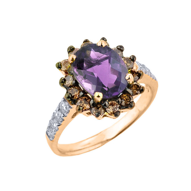 Yellow Gold Diamond And Alexandrite (LCA) Birthstone Proposal Ring