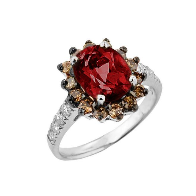 White Gold Garnet Birthstone and Diamond Proposal Ring